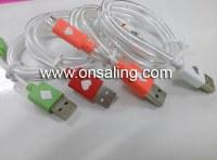 Transparent LED lighting USB cable