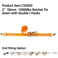 "CS5005 2"" 50mm 10000lbs Ratchet Tie down with double J Hooks"