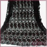 Two colors floral embroidery chemical lace fabric for dress