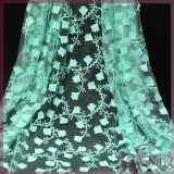 Green floral embroidery lace mesh fabric for dress