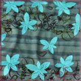 Floral plain embroidery printed mesh fabric