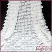 White circle laser embroidery applique designs fabric lace