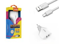 Kit 2 en 1 blanc chargeur secteur 2.1A et câble de chargement micro USB