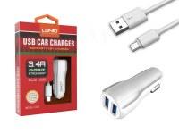 Kit 2 en 1 blanc chargeur voiture 3.4A et câble de chargement micro USB