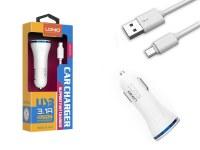 Kit 2 en 1 blanc chargeur voiture 3.1A et câble de chargement micro USB