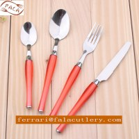 24 Pcs Salmon Pink PP Plastic Handle Cutlery And Tableware