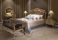 Italian leather bed Latest Wooden Furniture Designs Antique Carved Bed room bed furnitu...