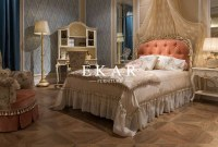 Latest double bed designs Luxury Romantic Classical Carving Girls Bed Room Set