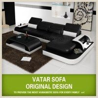 Black and white italian leather corner sofa H2213C