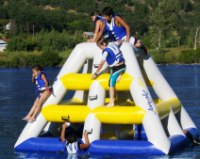 High quality 0.85mm PVC tarpaulin air tight inflatable lake toys, inflatbale floating...