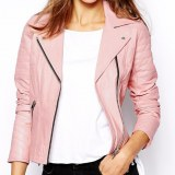 Pink Biker Ladies Leather Jacket USI-6016