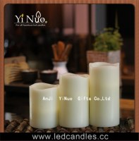 Square Bamboo Base Battery Operated Wave Edge LED Flameless Candle