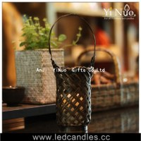 Hanging basket Candle holder,bamboo handmade candle holder