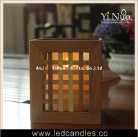 Square Bamboo Nice Lattice Candle Holder for Moving Wick Candle