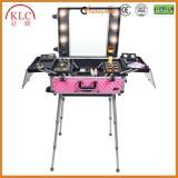 Metal Telecope handle LED light case makeup box/case makeup case with 4 wheels