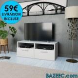 Meuble TV à haute brillance blanc LIVR GRATUITE