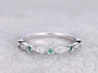 Natural Diamonds and Emerald,Half Eternity Wedding band,14K White gold,Anniversary Ring,Art deco Marquise style,stacking,milgrain.Retro