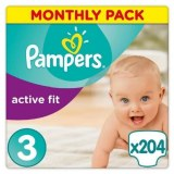 Pampers Active Fit 204 pc. (68 pc.x3) N°3 (4-9 KG)