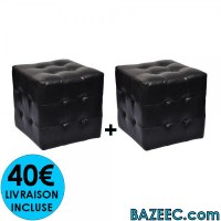 Pouf cube capitonné noir (lot de 2) LIVRAISON GRATUITE
