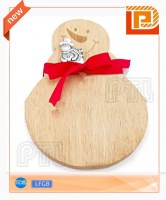 Snowman-shaped wooden cheese cutting board