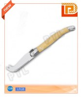 Stainless steel cheese knife with deluxe wooden handle