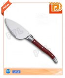 Stainless steel cheese knife with deluxe wooden handle and broad blade