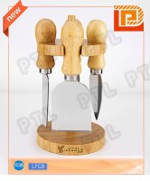 Rubber wood cheese set With hanging stand(5 pieces)