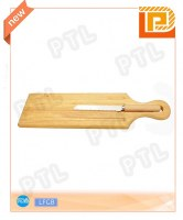 Rounded wooden cheese knife with long cutting board
