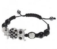 Bracelet fantaisie orne d'un hiboux recouvert de crystaux