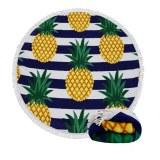 Serviette de plage ronde surdimensionnée de fruits d'ananas surdimensionnée imprimée sur mesure...