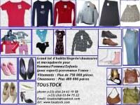 Lots VETEMENTS/CHAUSSURES      Grand lot d'habits/lingerie/chaussures