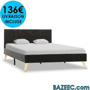 Cadre de lit Gris foncé Tissu 120 x 200 cm LIVRAISON GRATUITE